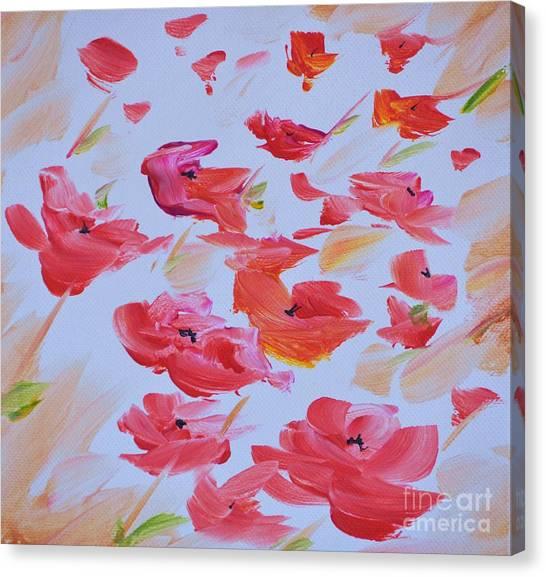 Windy Poppies No. 1 Canvas Print