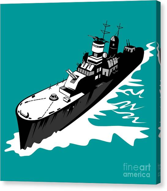 World War Two Battleship Warship Cruiser Retro Canvas Print by Aloysius Patrimonio
