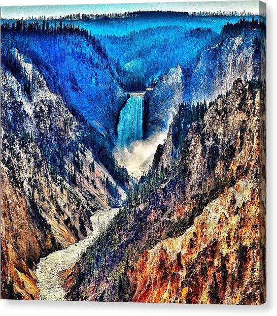 Wyoming Canvas Print - Yellowstone Falls. #all_photos by Chris Bechard