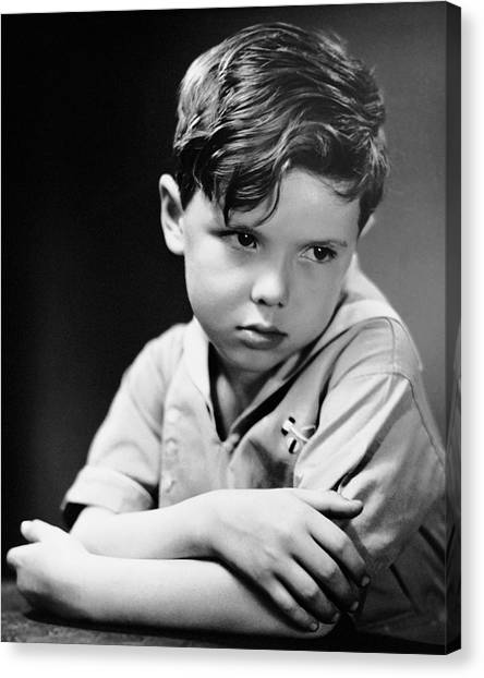 Young Boy Pouting Canvas Print by George Marks