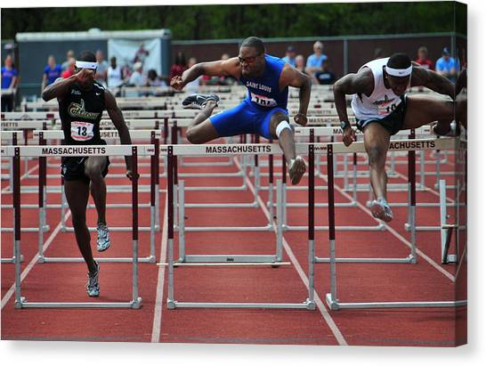 Atlantic 10 Canvas Print - 100 Meters Men's Hurdles by Mike Martin