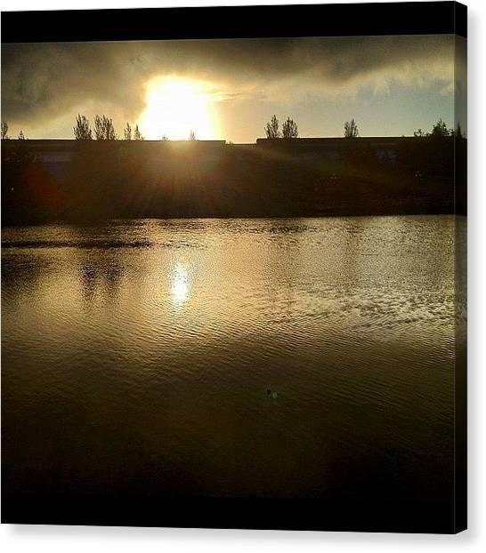 Lake Sunrises Canvas Print - 100% Natural. So During My Walk At Dawn by Elbashir Idris