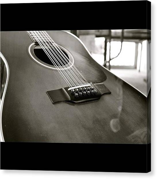 String Instrument Canvas Print - 12 String Guitar In Bw by Justin Connor