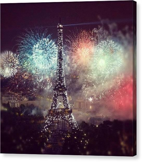 Fireworks Canvas Print - 14 Juillet @ Paris by Marce HH