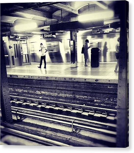 London Tube Canvas Print - #14thstreetsubway #tuesdaynight by Missy Lane