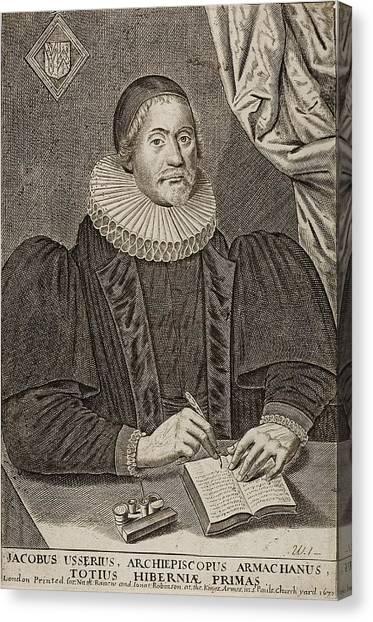 1650 Bishop Usher Portrait 4004bc Canvas Print by Paul D Stewart