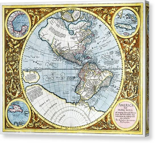 Latin america map canvas prints page 5 of 8 fine art america latin america map canvas print 17th century map of the new world by georgette douwma gumiabroncs Gallery