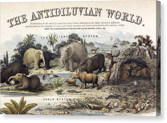 1849 The Antidiluvian World Crop Jurassic Canvas Print by Paul D Stewart