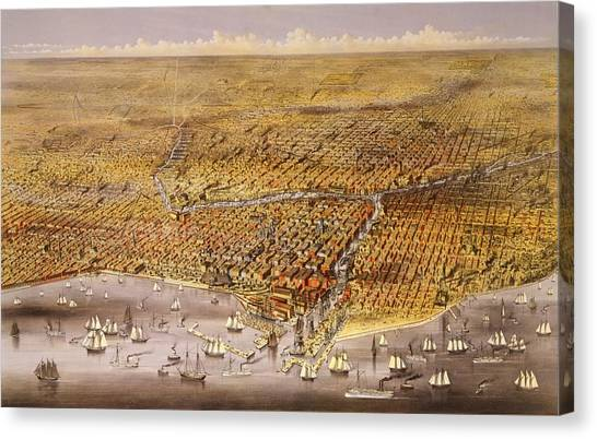 Chicago Fire Canvas Print - 1874 View Of The City Of Chicago by Everett