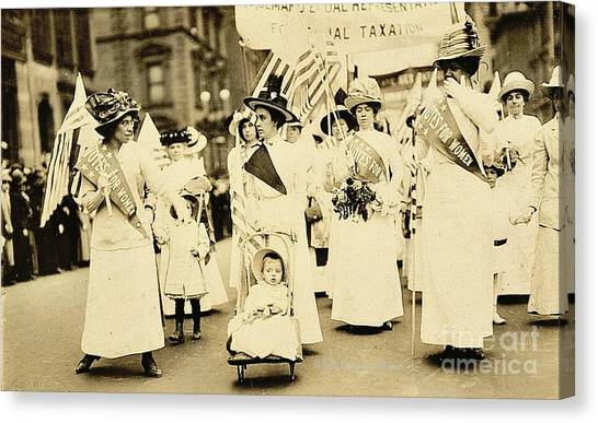 Womens Rights Canvas Print - 1912 New York City Suffrage Parade by Padre Art