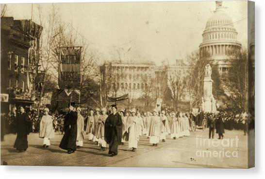 Womens Rights Canvas Print - 1913 Suffragette Parade In Washington D.c. by Padre Art