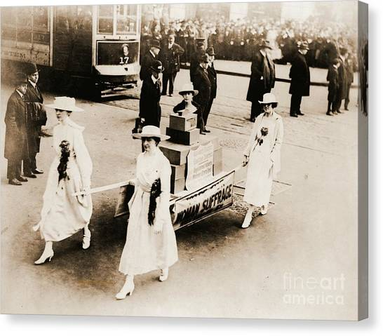 Womens Rights Canvas Print - 1915 New York City Suffrage Parade by Padre Art