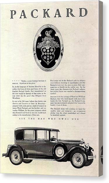 Classic Car Drawings Canvas Print - 1928 Packard by Georgia Fowler