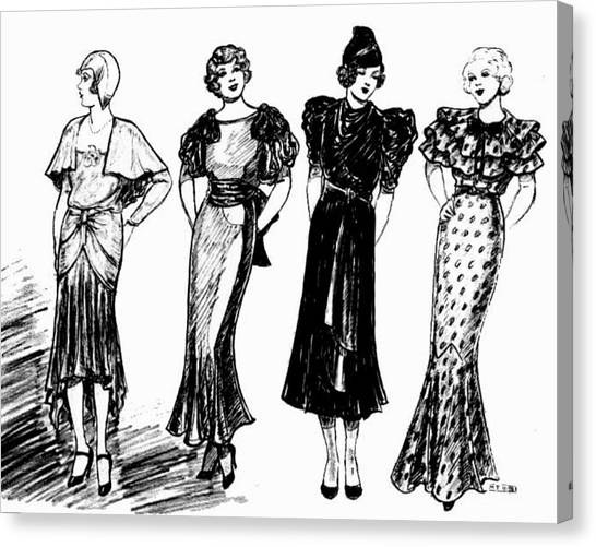 Fashion Plate Canvas Print - 1930s Black And White by Mel Thompson