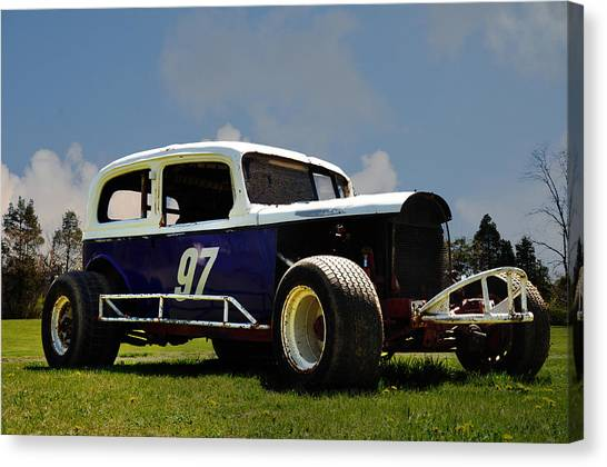Stock Cars Canvas Print - 1934 Ford Stock Car by Bill Cannon