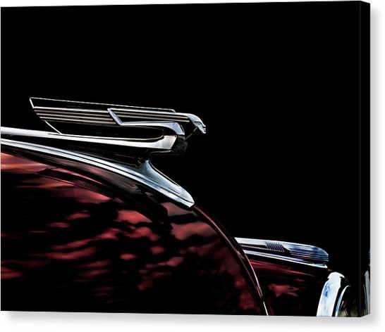 Vintage Automobiles Canvas Print - 1940 Chevy Hood Ornament Take 2 by Douglas Pittman