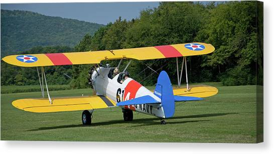 1941 Stearman Taxiing For Takeoff Canvas Print by Jim and Kim Shivers