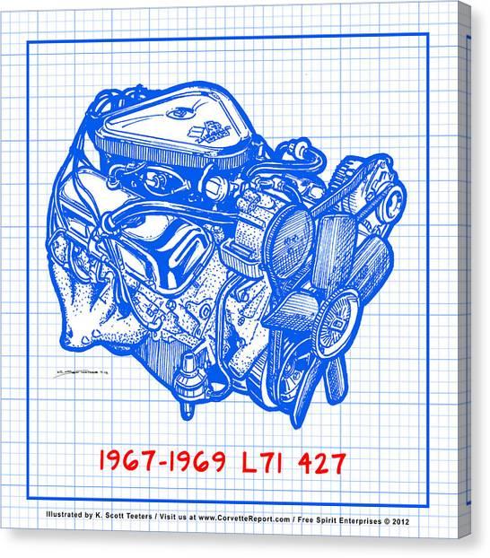 1967 - 1969 L71 427-435 Corvette Engine Blueprint Canvas Print