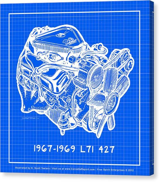 1967 - 1969 L71 427-435 Corvette Engine Reverse Blueprint Canvas Print