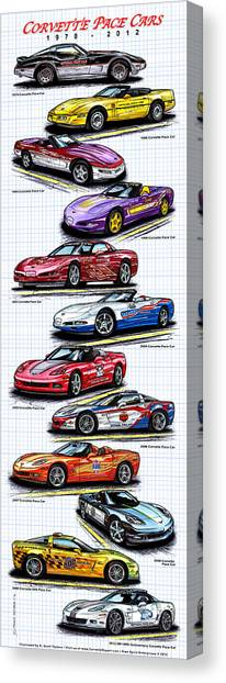 1978 - 2008 Indy 500 Corvette Pace Cars Canvas Print