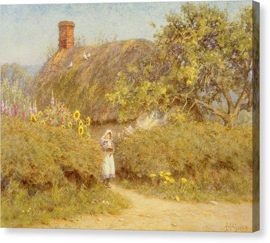 Foxglove Flowers Canvas Print - A Surrey Cottage by Helen Allingham