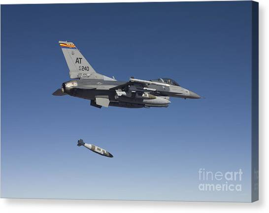 National Guard Canvas Print - An F-16 Fighting Falcon Releases by HIGH-G Productions