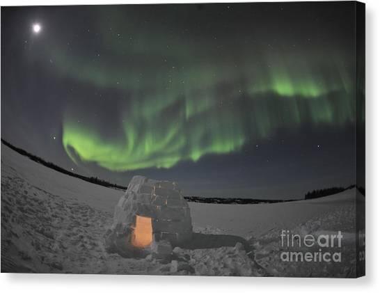 Northwest Territories Canvas Print - Aurora Borealis Over An Igloo On Walsh by Jiri Hermann