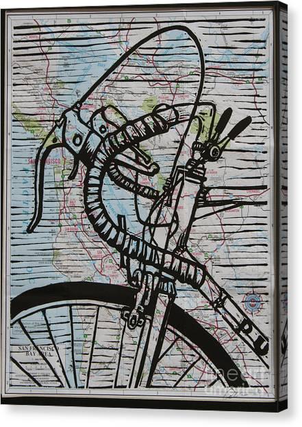 Bike 2 On Map Canvas Print