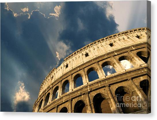 The Amphitheatre Canvas Print - Coliseum. Rome. Lazio. Italy. Europe by Bernard Jaubert