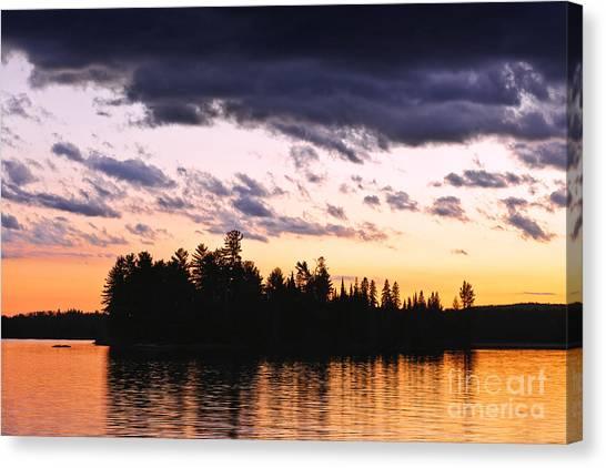 Lake Sunrises Canvas Print - Dramatic Sunset At Lake by Elena Elisseeva