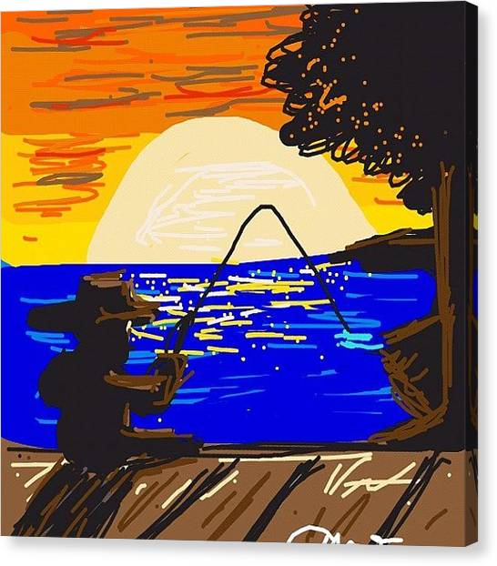 Fishing Canvas Print - #drawsomething #drawsomethingdesign by Kidface Anbessa-Ebanks