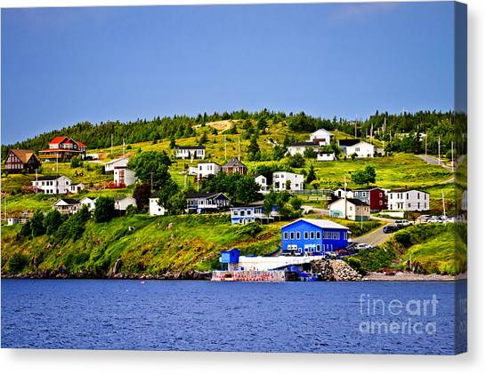 Town Canvas Print - Fishing Village In Newfoundland by Elena Elisseeva