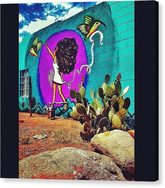 Hummingbirds Canvas Print - #graffiti #streetart #phxstreetart by CactusPete AZ