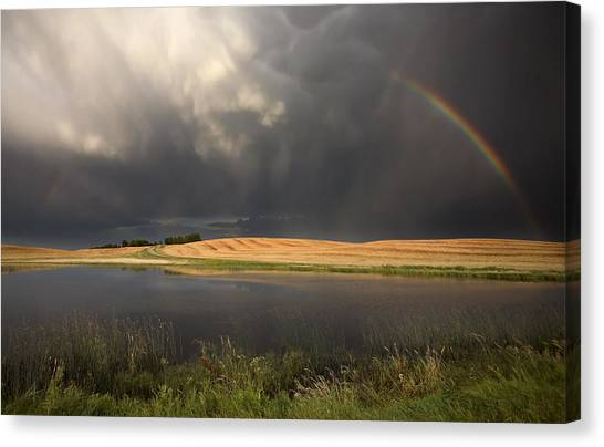 Hailstorms Canvas Print - Hail Storm And Rainbow by Mark Duffy