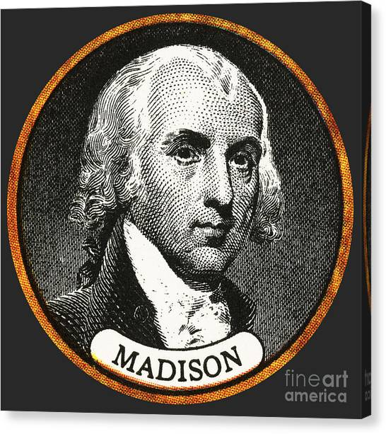 Democratic Politicians Canvas Print - James Madison, 4th American President by Photo Researchers