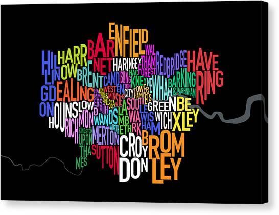 United Kingdom Canvas Print - London Uk Text Map by Michael Tompsett