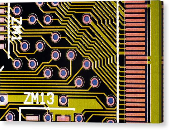 Macrophotograph Of A Circuit Board Canvas Print by Dr Jeremy Burgess