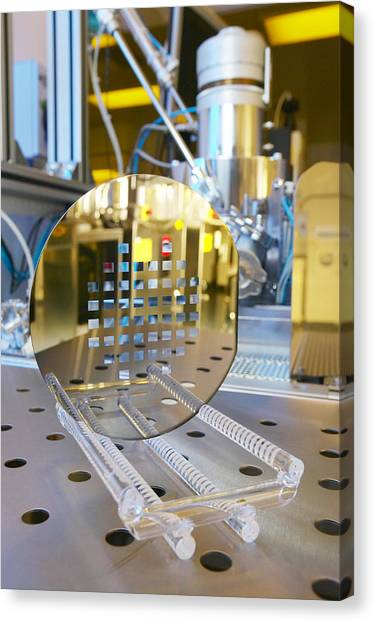 Mems Production, Machined Silicon Wafer Canvas Print by Colin Cuthbert