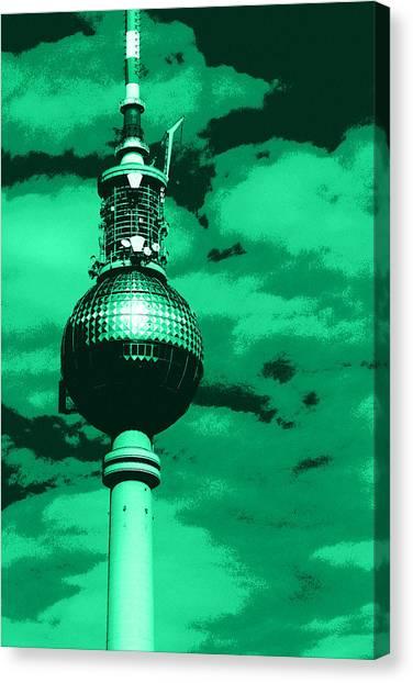 Tv Tower Canvas Print - Pop Art Berlin by Falko Follert