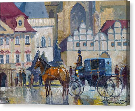 Carriage Canvas Print - Prague Old Town Square 01 by Yuriy Shevchuk