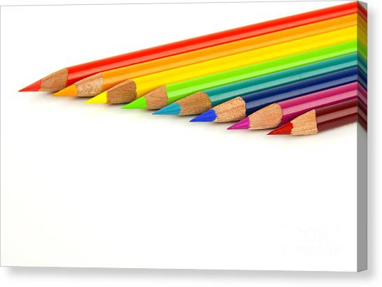 Color Image Canvas Print - Rainbow Colored Pencils by Blink Images