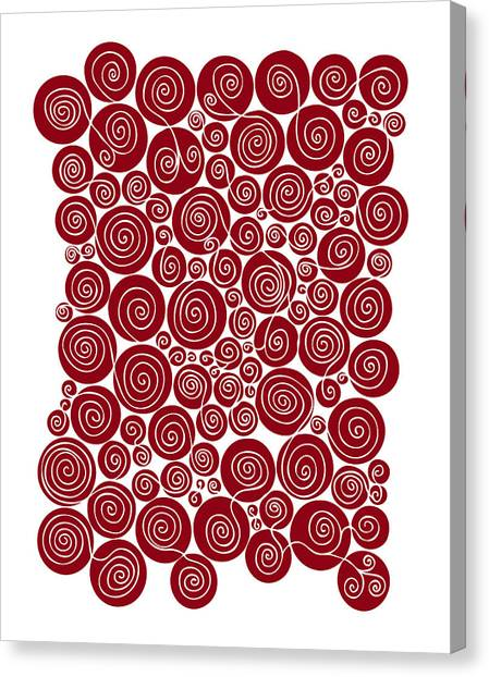 Swirly Canvas Print - Red Abstract by Frank Tschakert