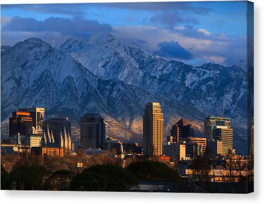 Real Salt Lake Canvas Print - Salt Lake City Utah Usa by Douglas Pulsipher