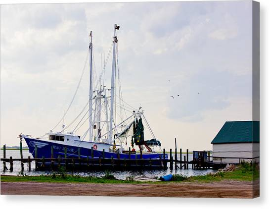 Shrimp Boat At Dock Canvas Print by Barry Jones