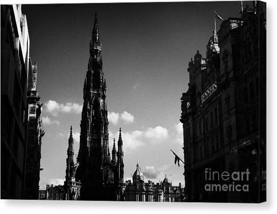 Sir Walter Scott Monument Princes Street Edinburgh Scotland Uk United Kingdom Canvas Print by Joe Fox