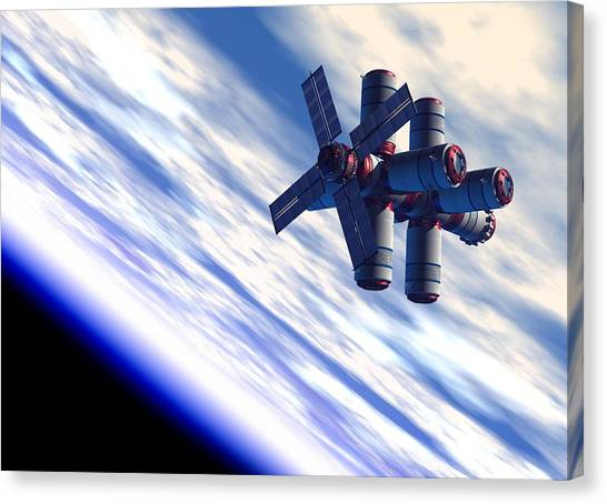 Space Hotel, Artwork Canvas Print by Victor Habbick Visions