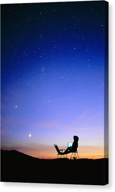 Stellar Canvas Print - Starry Sky And Stargazer by David Nunuk