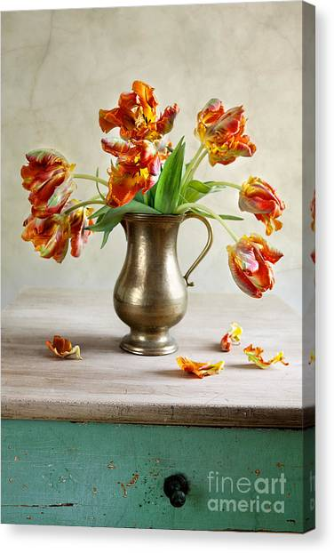 Indoors Canvas Print - Still Life With Tulips by Nailia Schwarz