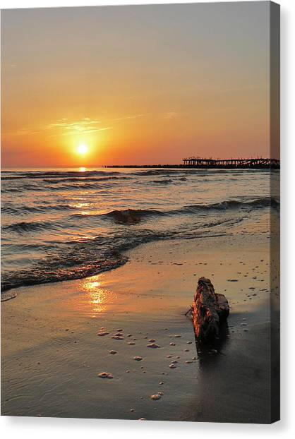Sunset At Sea Coast Canvas Print