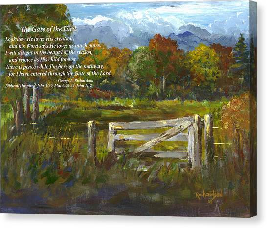 The Gate Of The Lord With Poem Canvas Print